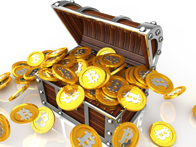 Image of treasure chest full of bit coin